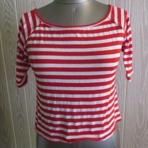 Mauve red/white striped crop top